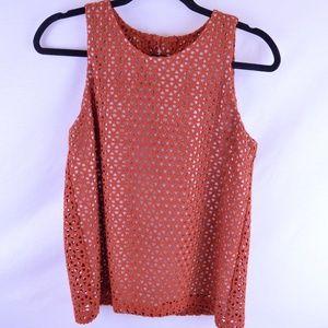 Waverly Grey Crochet Top Burnt Orange Sz 4